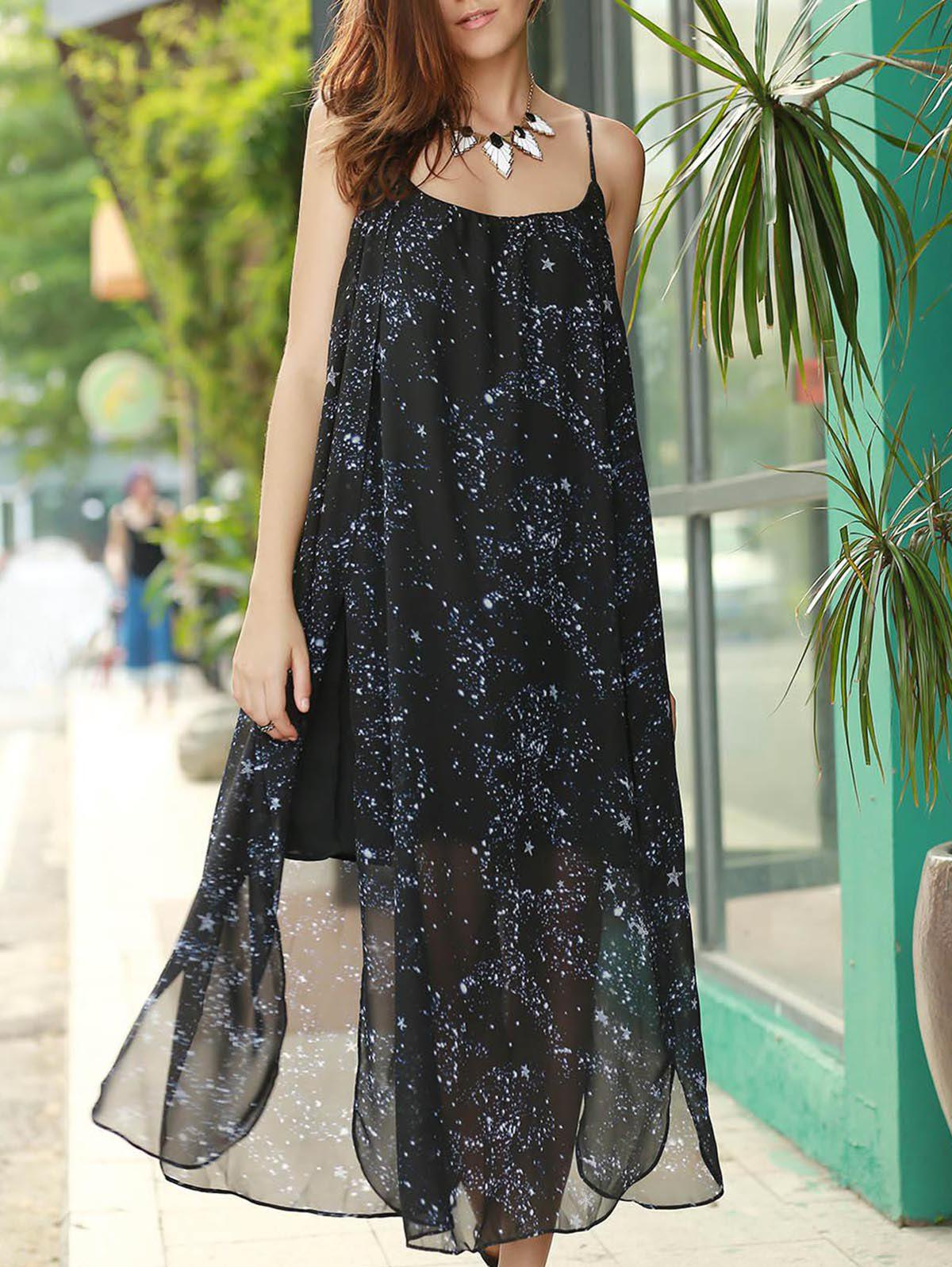 Chic Spaghetti Strap High Slit Star Print Women's Dress - BLACK S