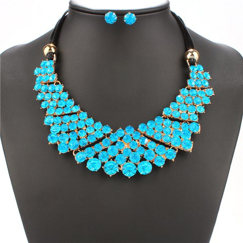A Suit of Rhinestones Necklace and Earrings - BLUE