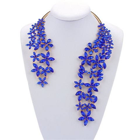 Floral Faux Crystal Cuff Necklace - BLUE