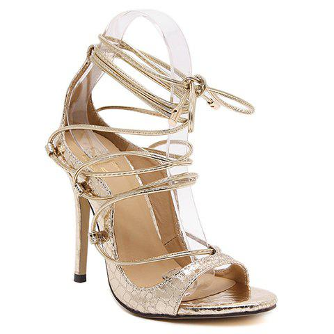 Fashionable Lace-Up and Stiletto Heel Design Women's Sandals - GOLDEN 39