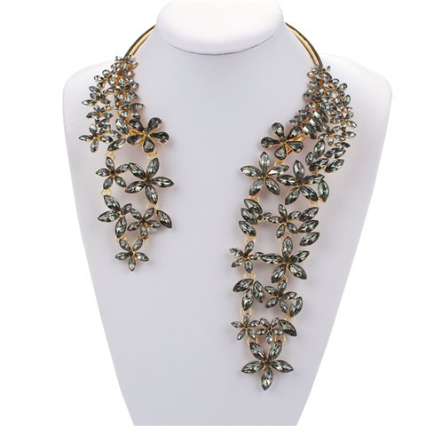 Floral Embellished Faux Crystal Cuff Necklace - GRAY