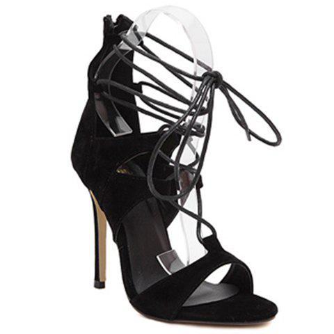 Fashionable Solid Color and Suede Design Women's Sandals - BLACK 35