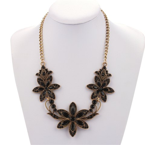 Floral Artificial Crystal Pendant Necklace - BLACK