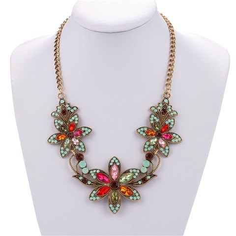Chic Style Colored Rhinestone Floral Chain Necklace For Women