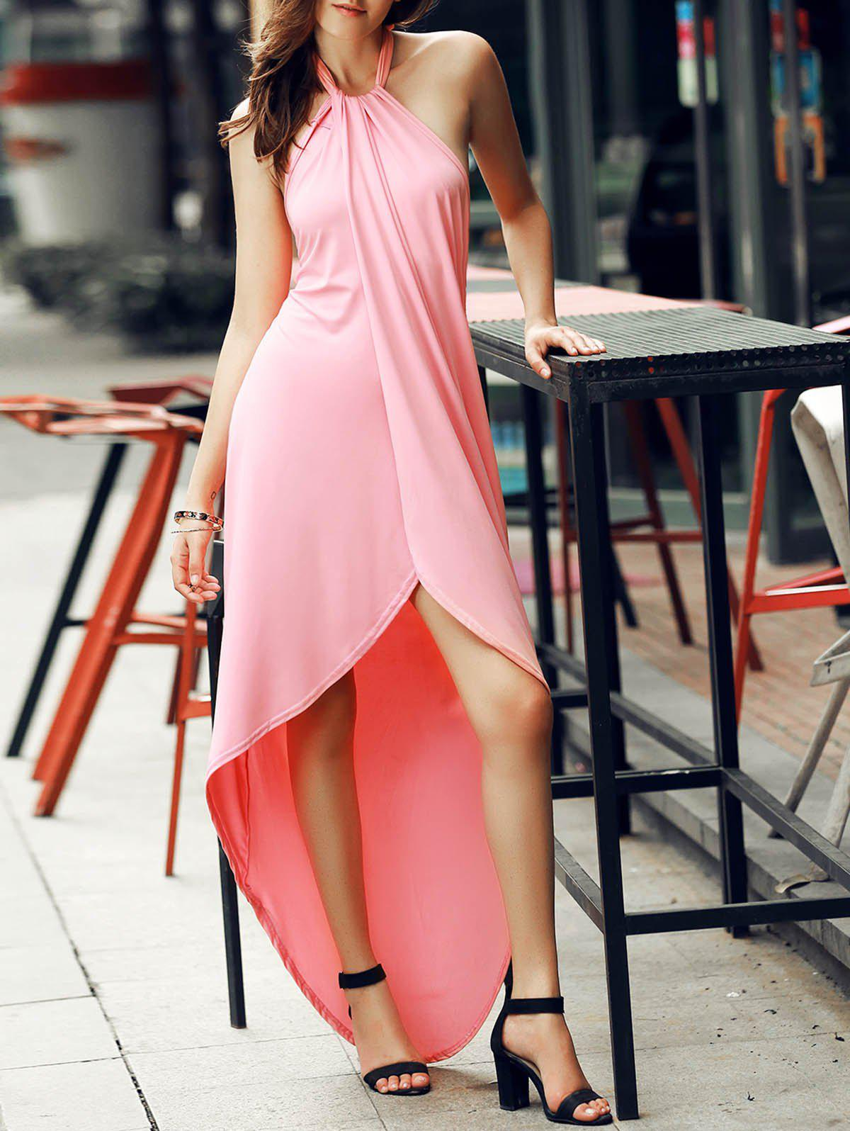 Chic Halter Backless Solid Color Asymmetrical Women's Dress - LIGHT PINK M