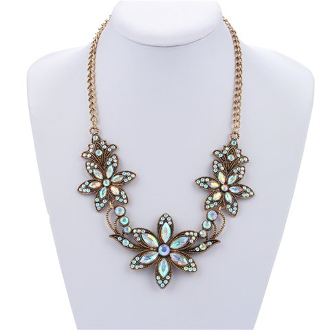 Floral Shape Rhinestone Pendant Necklace - WHITE
