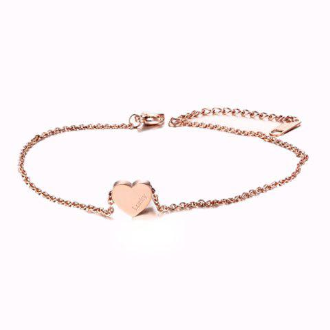 Letters Engraved Heart Charm Anklet - GOLDEN