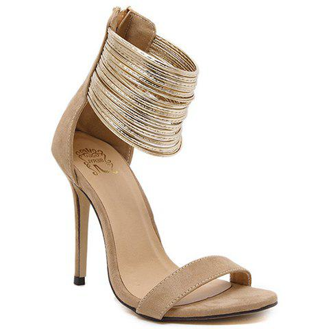 Fashionable Zip and Suede Design Women's Sandals - APRICOT 40