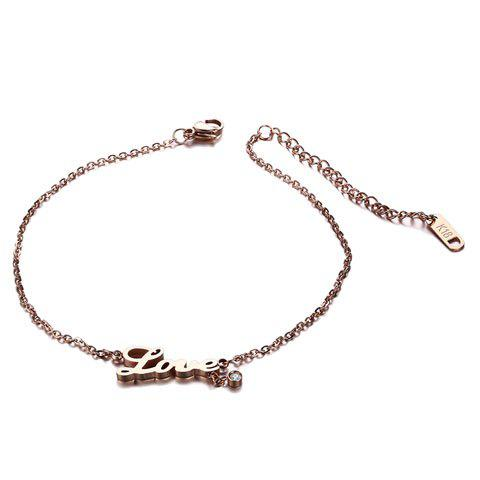 Fresh Shiny Rhinestone Letters Anklet For Women - GOLDEN