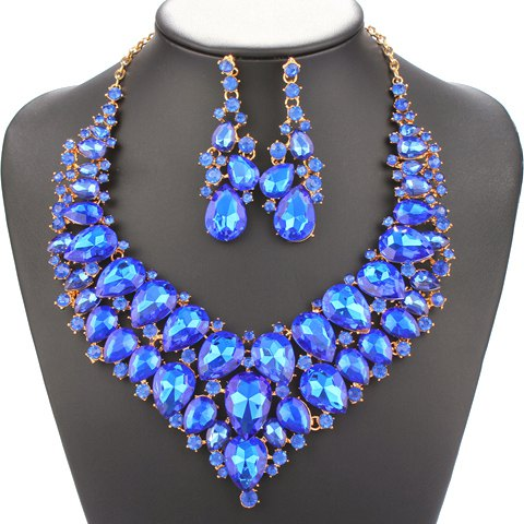 A Suit of Water Drop Faux Sapphire Necklace and Earrings - BLUE