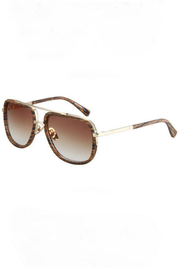 Chic Alloy Match Wooden Grain Sunglasses For Women