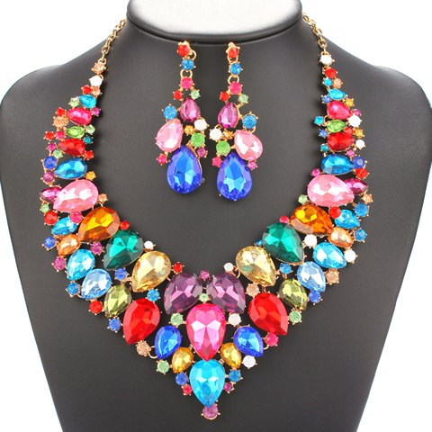 A Suit of Charming Colored Water Drop Necklace and Earrings Jewelry For Women