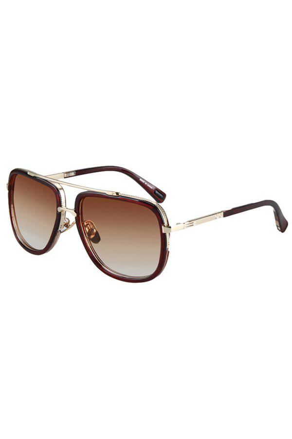 Chic Alloy Match Tea-Colored Frame Sunglasses For Women - TEA COLORED