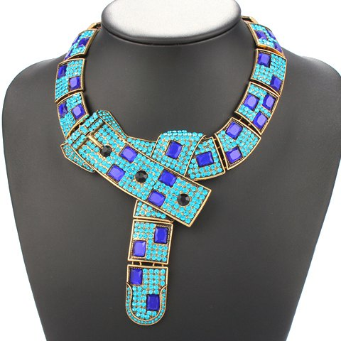 Adjustable Rhinestone Pendant Necklace - BLUE