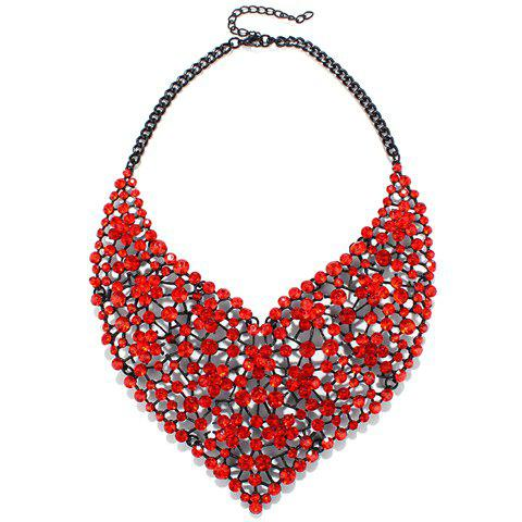 Floral Rhinestone Pendant Necklace - RED
