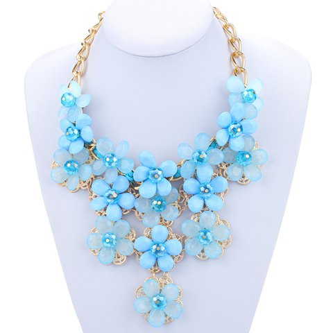 Hollow Out Adjustable Floral Pendant Necklace - BLUE