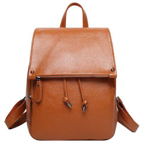 Fashion Solid Color and Drawstring Design Women's Satchel - BROWN