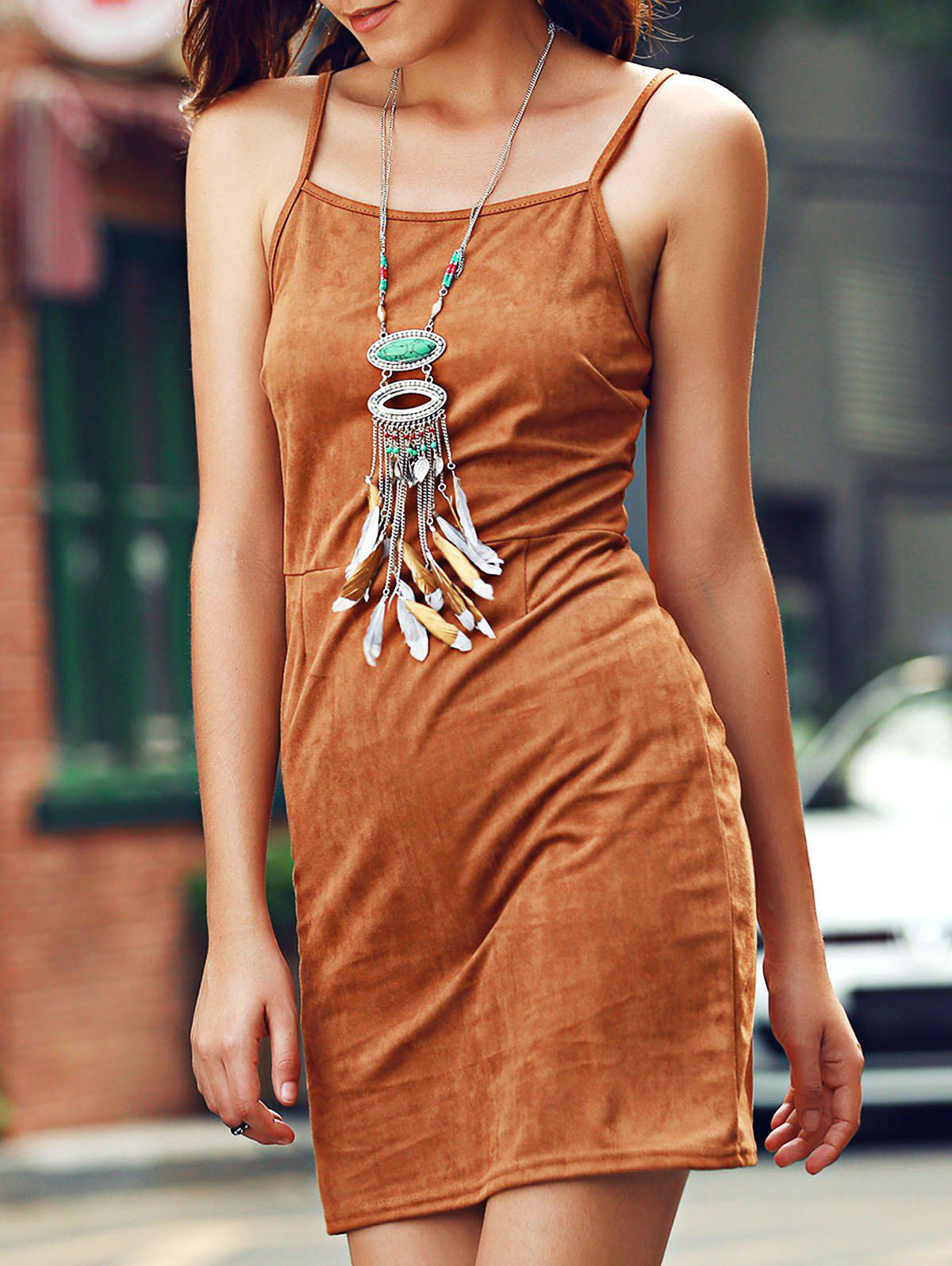 Stylish Women's Suede Lace-Up Cami Dress