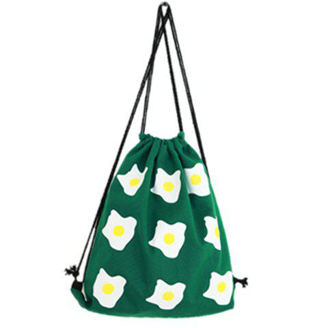 Casual Poached Egg Print and Canvas Design Women's Satchel