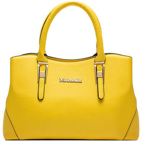 Ladylike Solid Color and Letter Design Women's Tote Bag - LEMON YELLOW