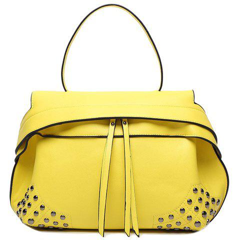 Fashion Zip and Rivets Design Women's Tote Bag - YELLOW