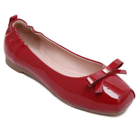 Casual Bowknot and Square Toe Design Women's Flat Shoes - RED 37