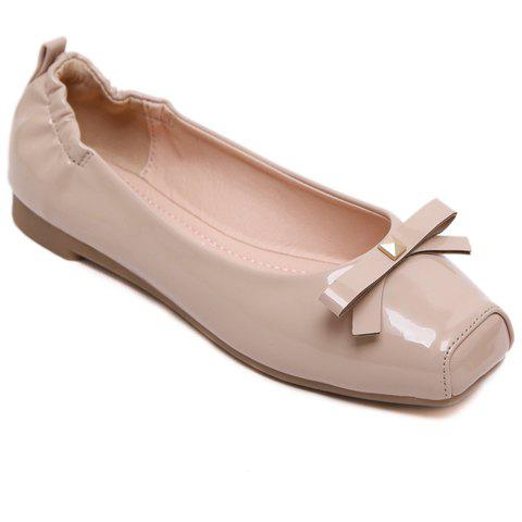 Casual Bowknot and Square Toe Design Women's Flat Shoes - APRICOT 35