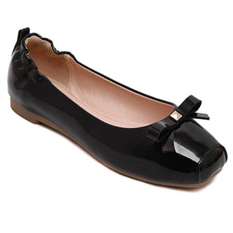 Casual Bowknot and Square Toe Design Women's Flat Shoes - BLACK 40
