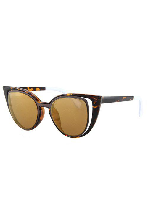 Hollow Out Frame Flecky Faux Amber Polarized Sunglasses - LIGHT BROWN