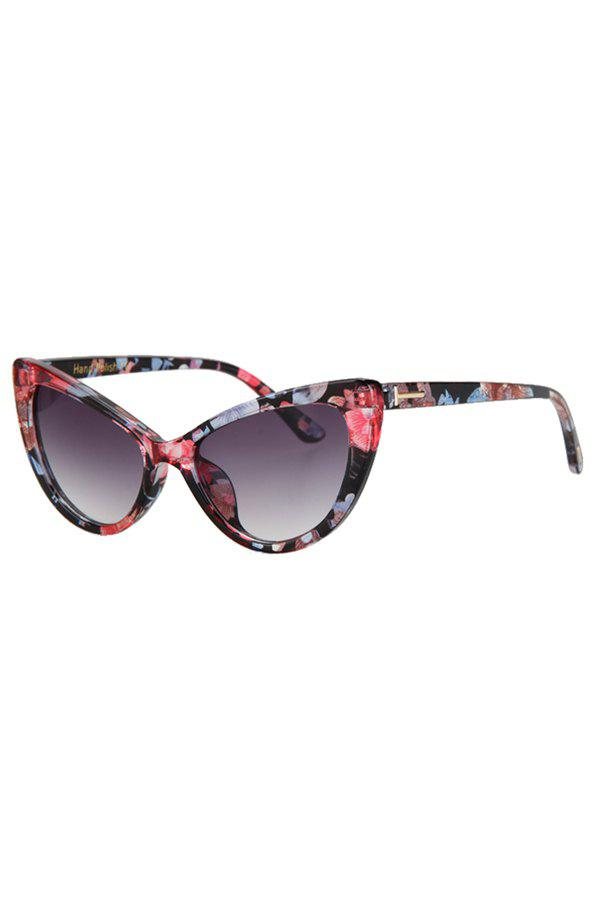 Chic Letter T Shape Inlay Flower Sunglasses For Women - RED