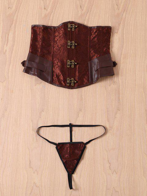 Retro Style Steampunk Alloy Buckle Design Lace-Up Corset For Women - BROWN 2XL