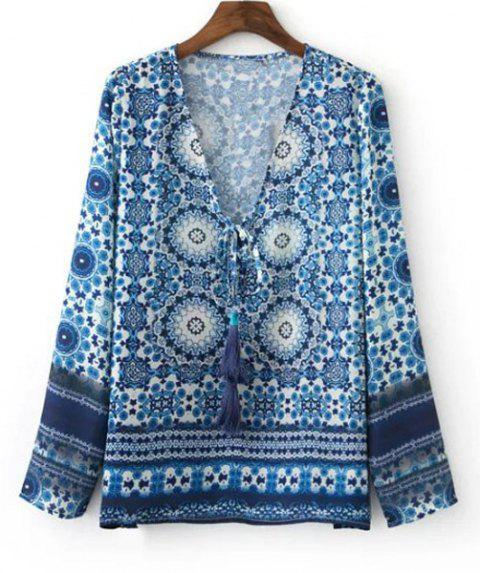 Ethnic Women's Tribal Print Long Sleeves Tied-Front Blouse - BLUE L
