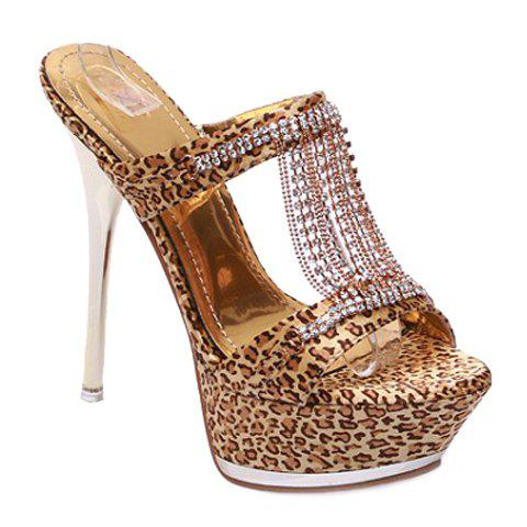 Trendy Rhinestones and Leopard Printed Design Women's Slippers - YELLOW 35
