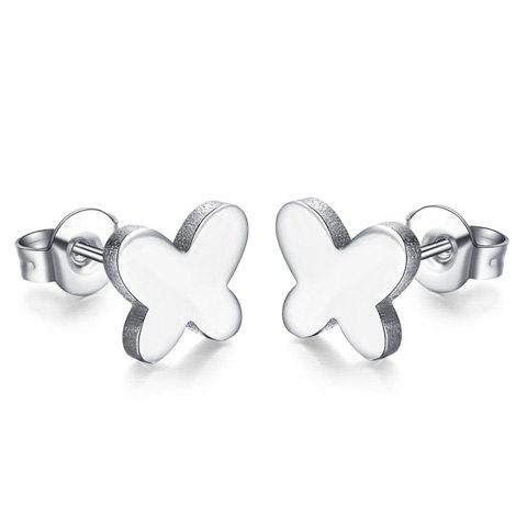 Pair of Alloy Butterfly Stud Earrings - SILVER