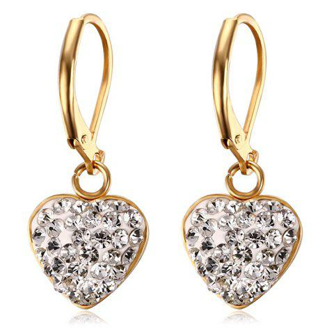 Pair of Heart Rhinestoned Hoop Earrings - GOLDEN
