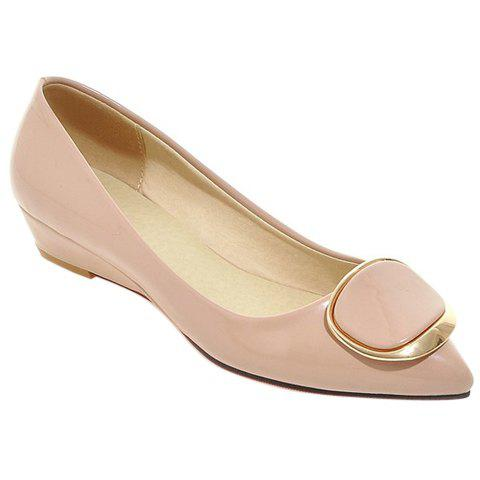 Sweet Metal and Patent Leather Design Women's Wedge Shoes - APRICOT 38
