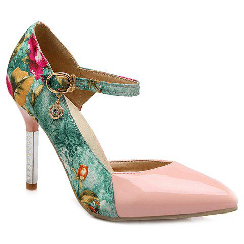 Fashion Color Block and Pointed Toe Design Women's Pumps - SHALLOW PINK 37