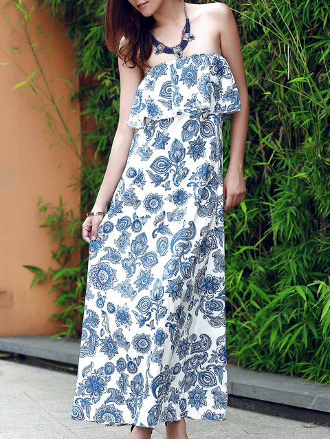 Vintage Strapless Flounce Patterned Maxi Dress For Women - BLUE S