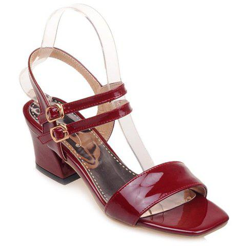 Chunky Heel Square Toe Patent Leather Sandals - WINE RED 38
