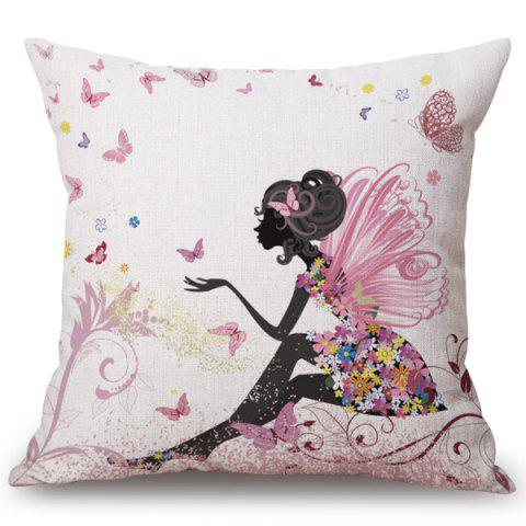 Chic Floral Angel Pattern Square Shape Flax Pillowcase (Without Pillow Inner) - COLORMIX