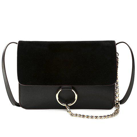Concise Splicing and Chains Design Women's Crossbody Bag - BLACK