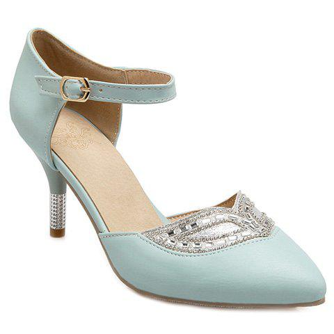 Stiletto Heel Beaded Glitter Point Toe Pumps - LIGHT BLUE 37