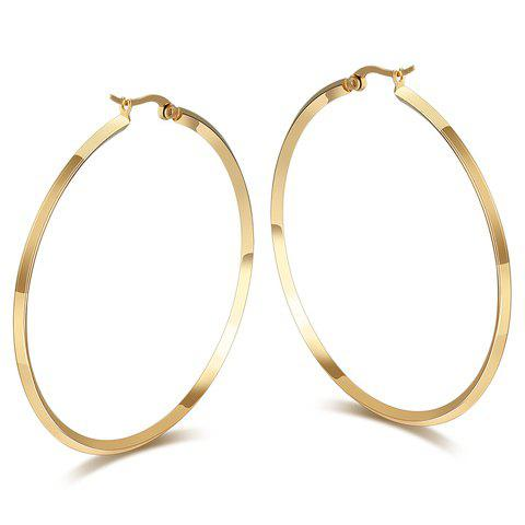 Pair of Circle Titanium Steel Earrings - GOLDEN