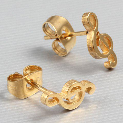 Pair of Music Note Stud Earrings - GOLDEN