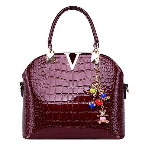 Mature Embossing and Metal Design Women's Tote Bag - RED