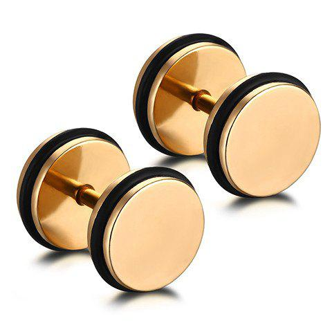 Pair of Chic Stainless Steel Circle Earrings Jewelry For Men - GOLDEN