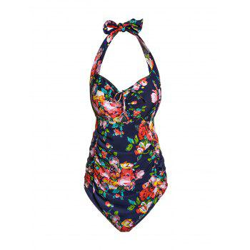 Sexy Halter Cut Out Floral Print Plus Size One Piece Swimwear For Women - DEEP BLUE 2XL