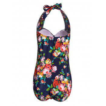 Sexy Halter Cut Out Floral Print Plus Size One Piece Swimwear For Women - 2XL 2XL