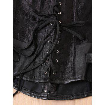 Retro Style Steampunk Alloy Buckle Design Lace-Up Corset For Women - BLACK 2XL