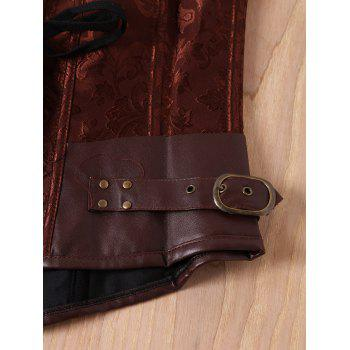 Retro Style Steampunk Alloy Buckle Design Lace-Up Corset For Women - BROWN M